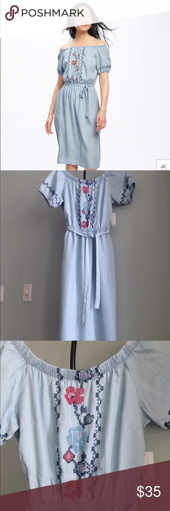 """NWT OLD NAVY Embroidered Off-Shoulder Midi Dress Details - Off-the-shoulder neck if desired or not - Cross-Stitch Embroidery on Bust Area and Sleeves (Embroidery is a loose weave with a look of imperfection) - Elastic Around Sleeves and Waist; Fabric Belt - Side Vents - Size XSP (Generously Sized, but not huge) - Approx. 38.5"""" length ,11"""" @ Unstretched Elastic Waist, 18"""" Flat Pit to Pit - Made in USA of imported fabric  Fiber Content: 100% Cotton Old Navy Dresses Midi"""