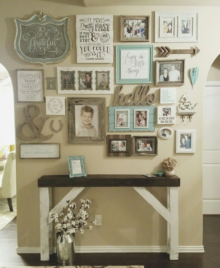 Wall Gallery entry Farmhouse style entry table. Shabby chic distressed  white chalk paint with dark