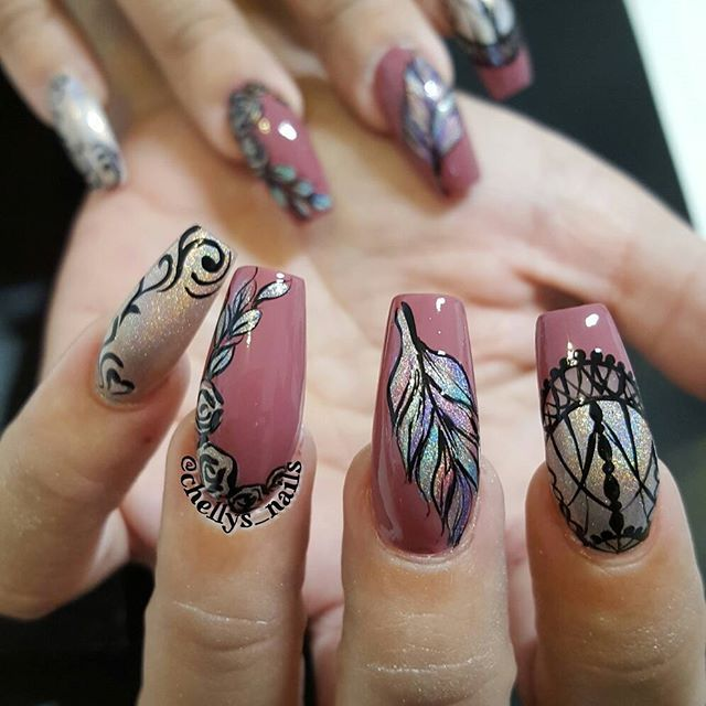 Cinderella fairytale nail art by @chellys_nails