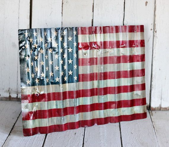 American flag reclaimed painted and distressed metal for Painted american flag wall art