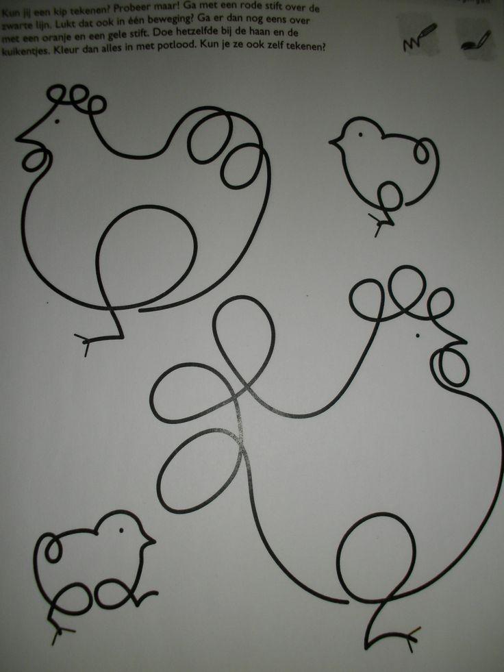 Fijne motoriek: ga over de lijnen van de kip en de kuikens zonder de potlood op te heffen