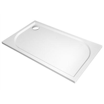 Klara rectangular, plato de ducha de carga mineral, 140x80x3 cm