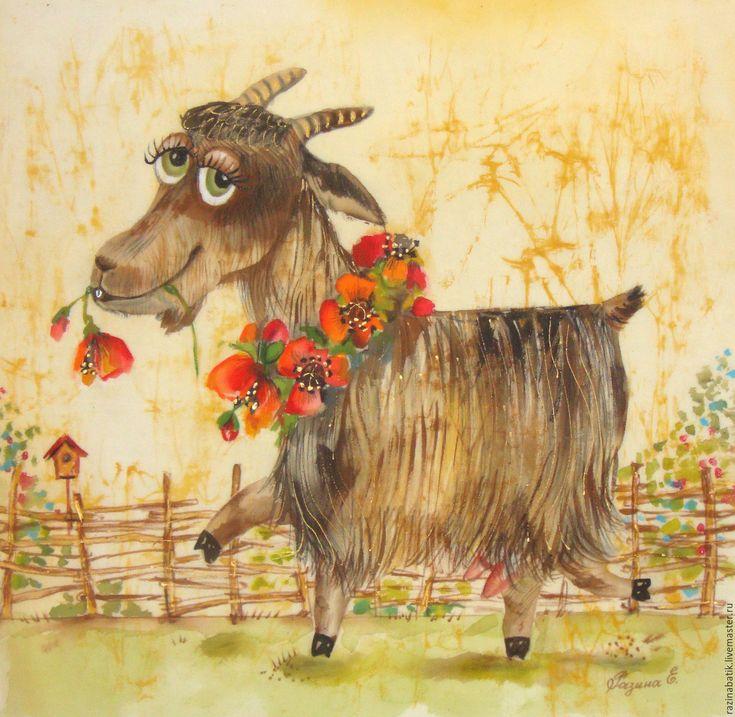 Купить Гламурная Козочка( батик панно) - розовый, коза, гламур, мода, стиль…