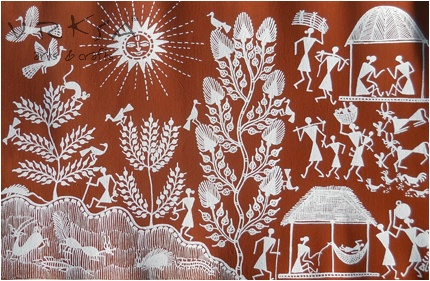 vrksa arts & crafts: warli street - indian traditional painting