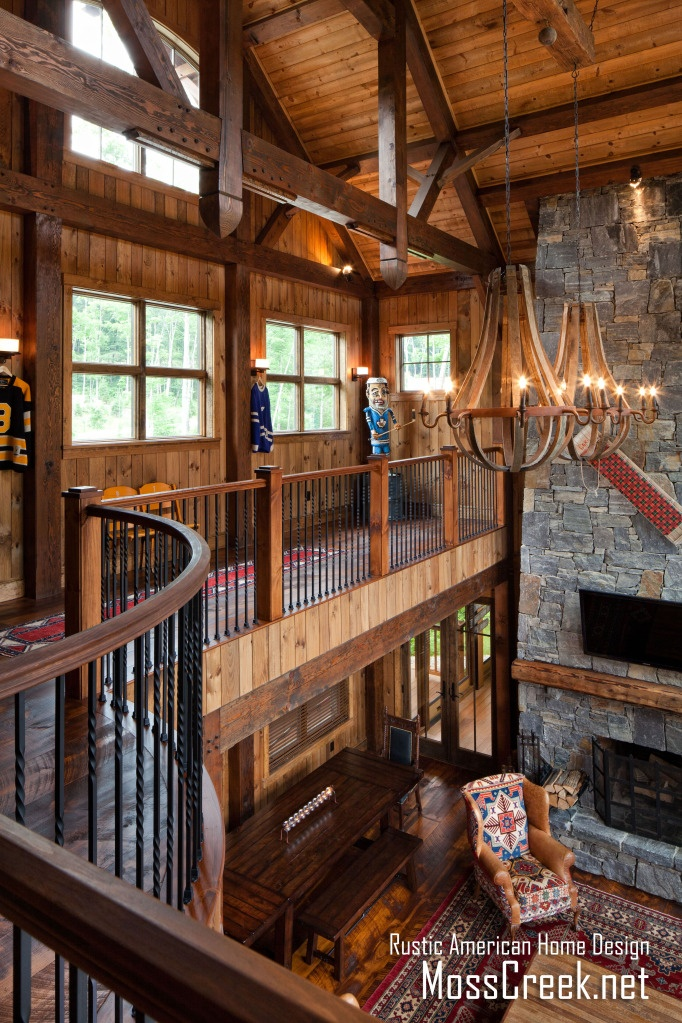 www.MossCreek.net   Mountain timber frame home in the heart of New Hampshire snow country -  great room