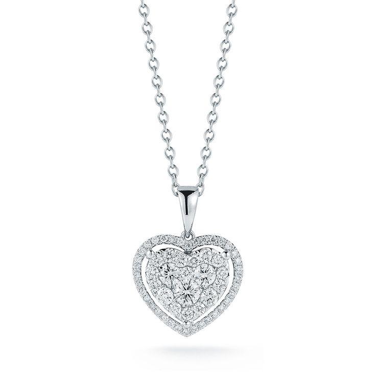 Collar de Diamantes, Forma de Corazón, (0.82ctw), Oro Blanco de 14Kt