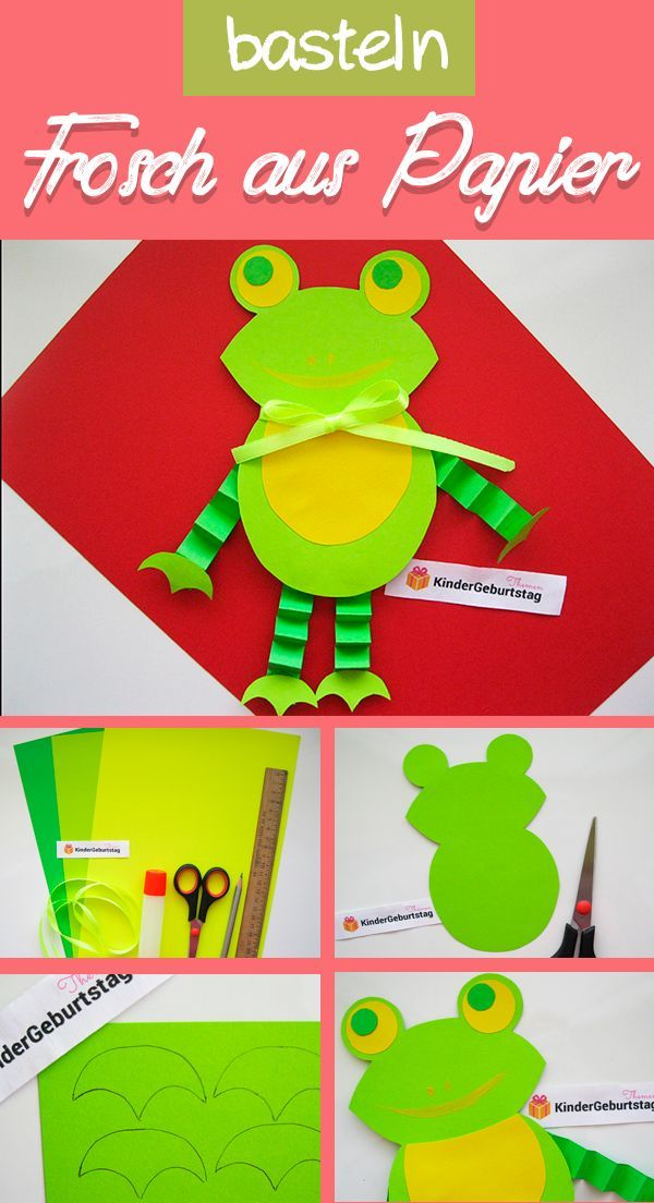 Frosch Basteln Mit Kindern Vorlage Und Anleitung Frosch Basteln Kinder Basteln Papier Basteln Mit Papier