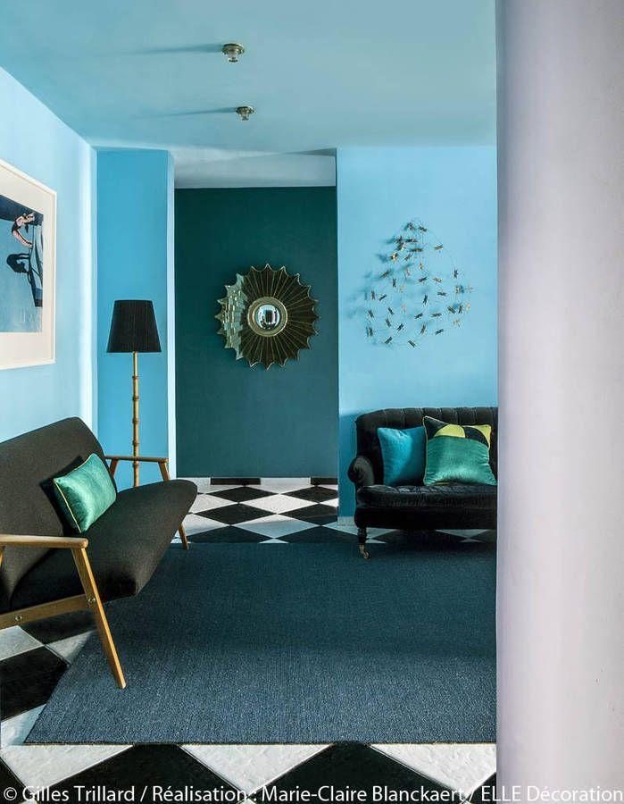un petit salon bleu vintage - Decoration Salon Bleu