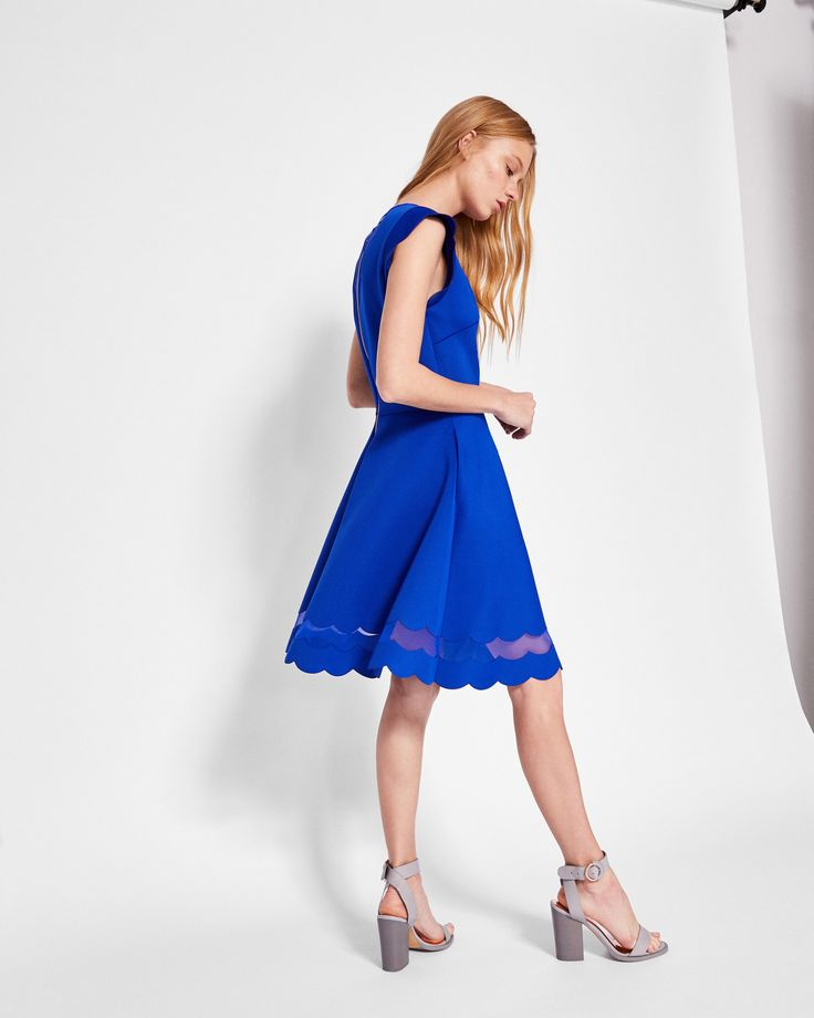 Scallop detail skater dress - Bright Blue | Dresses | Ted Baker UK