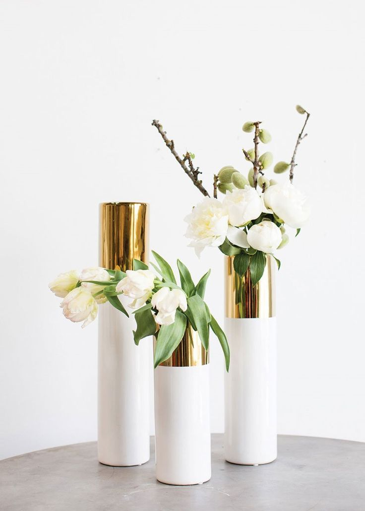 White And Gold Ceramic Cylinder Floral Vase 12 Tall In 2020