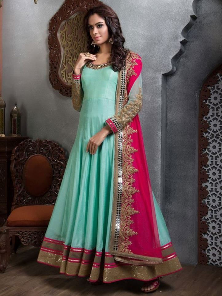 Go for a colorful and bright Anarkali Salwar Suit dress for the evening. This Anarkali aishwarya design studio dress with light work will look great for a casual night do. http://www.aishwaryadesignstudio.com/sea-green-anarkali-with-a-contrasting-dupatta