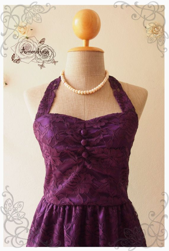 Royal Purple Lace Dress Purple Lace Dress Vintage by Amordress, $59.00