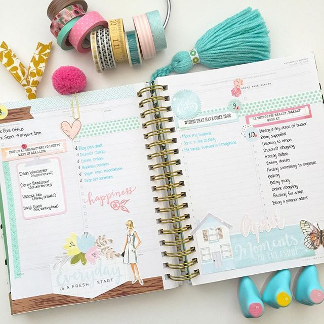 Fri-Sun planner pages for #listersgottalist using the Day Designer planner and Awakening ListersGottaList kit. #trgplannerstylistteam