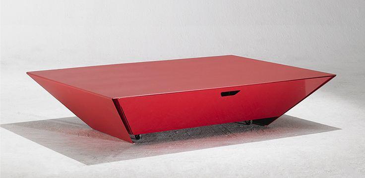 Table Basse OMNI Avec Tiroir en Acier et Aluminium Finition Epoxy Poudré