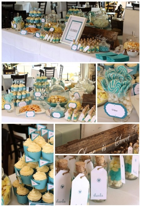 Candy Bar for a beach wedding. Lemon and Aqua. Matt and Julia
