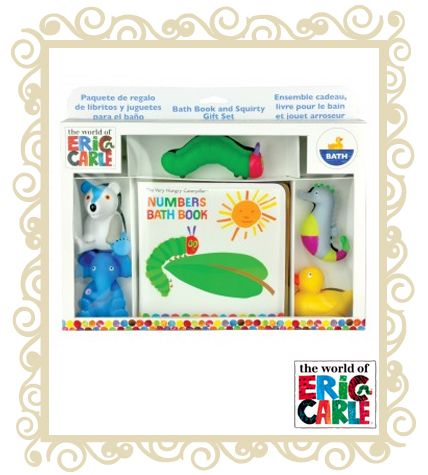 The Very Hungry Caterpillar bath Gift Set. Includes: A Book and 5 Squirties Features: This is the perfect gift for any child. Decorated like the Eric Carle book characters. Squeeze to fill with water! Non toxic. Suitable for ages 3+ years.  $34.95