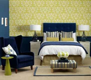 Navy & Yellow Bedroom