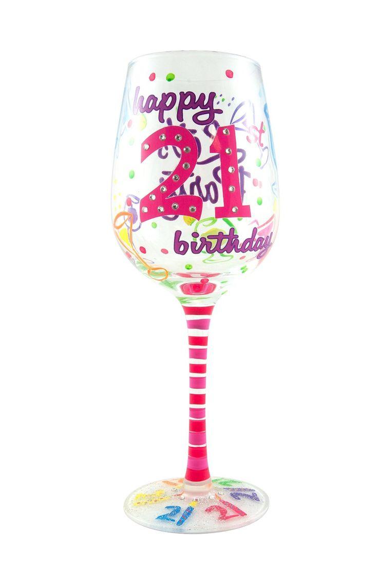 21st Birthday Hand Painted Wine Glass - $25.99
