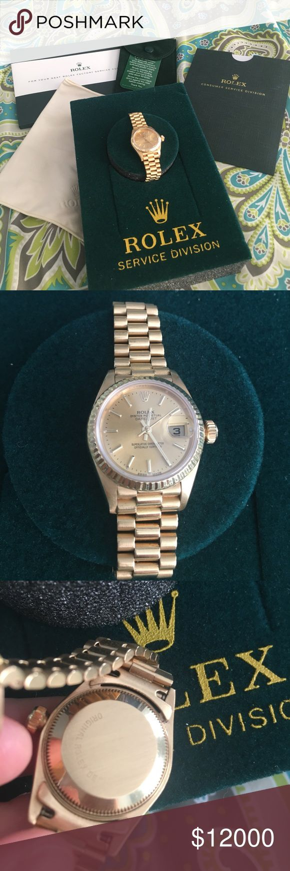 Women's  presidential Rolex 18K gold 💯%authentic Ladies presidential 18K gold Rolex with oyster perpetual datejust. Officially certified Champagne dial y/g markers   Crystal sapphire Model #69178 serial number 9281060.  Was serviced in December 2016 got new pair of hands and second hand. Does not run on a battery. This watch is self winding by the natural motion of the wearer. 🚫low ball offers.  🚫trades at all.  Papers included Rolex Accessories Watches