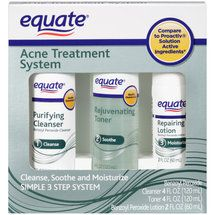 Equate Acne Treatment System from Wal-Mart sells for about $12 and is their version of the Proactiv Acne Kit that sells for much more $$$. The ingredients in this kit are exactly the same as those in Proactiv! There were over 150 reviews for this product on the Wal-Mart website and they were glowing reviews!