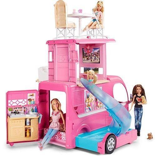 Barbie Pop Up Camper RV Vehicle Play Set Pink Pool Slide Van Girls Gift Toy New #Barbie