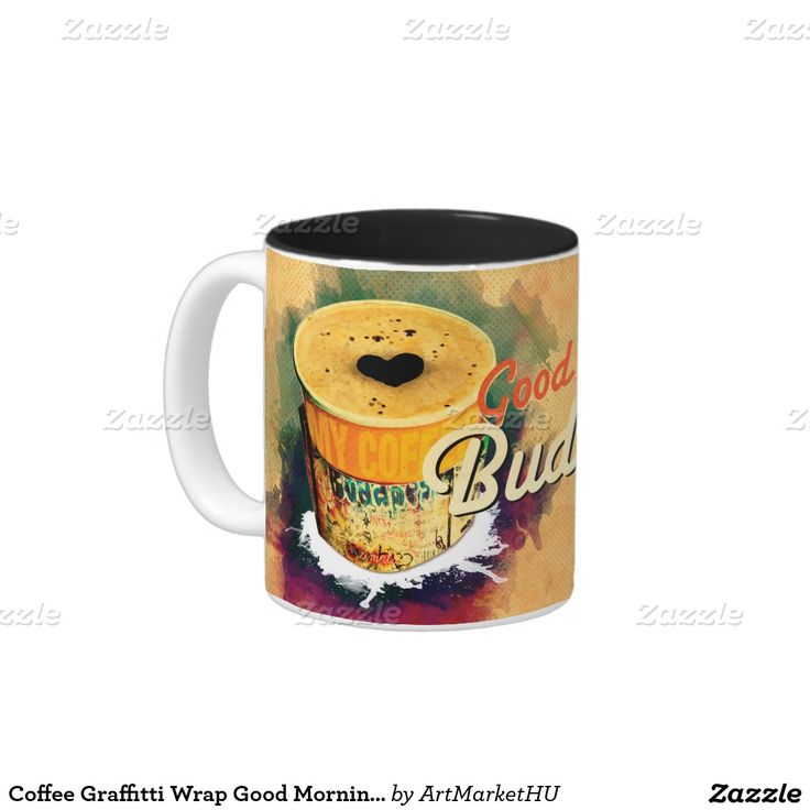 Coffee Graffitti Wrap Good Morning Budapest! Two-Tone Coffee Mug designed by Andras Balogh