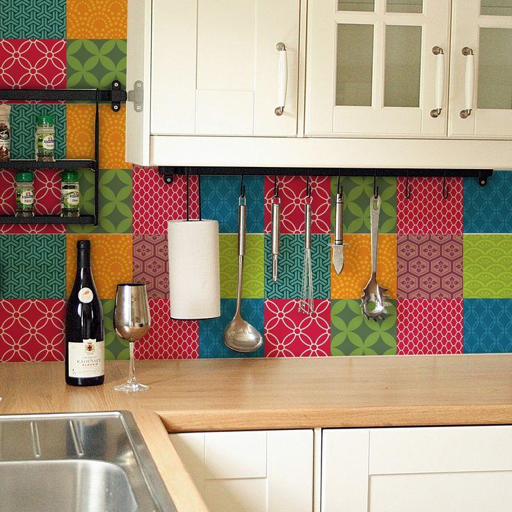 1000 ideias sobre grudado adesivos no pinterest adesivos decorativos adesivos de parede e - Azulejos colorines ...