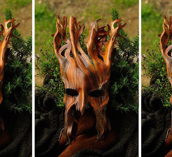 leather WOODLAND TREE MASK ent groot face masked ball fantasy