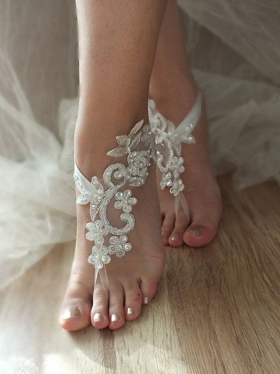 ivory silver frame barefoot sandals, embroidered sandals, ivory Barefoot , french lace sandals, wedding anklet, FREE SHIP