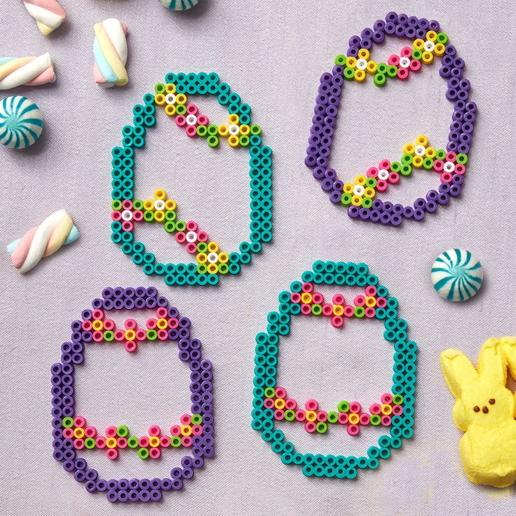 These colorful Perler egg silhouettes are great to use for ornaments or tucking into Easter baskets.