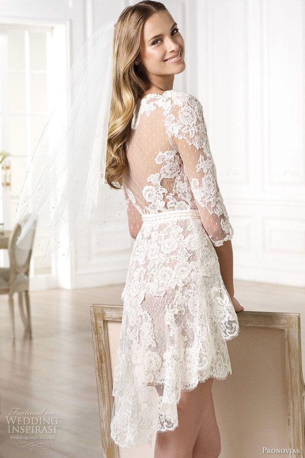 Atelier Pronovias 2014 yecelis lace short wedding dress back