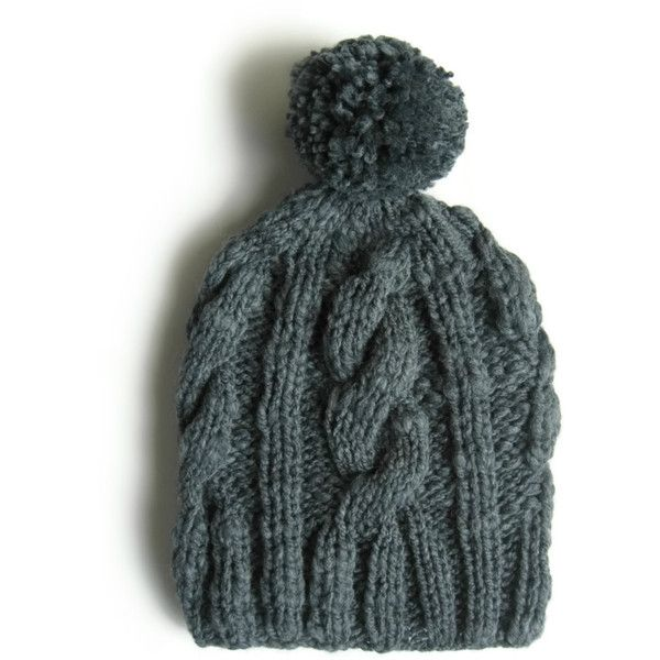 Beanie Pompom Knitted in Gray Wool ($36) ❤ liked on Polyvore featuring accessories, hats, beanie, wool beanie, cable knit hat, wool beanie hat, gray hat and hand knitted hats