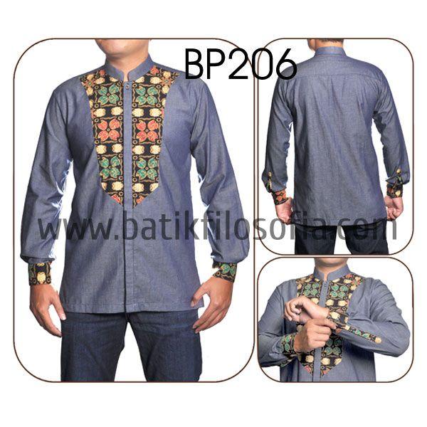 Batik Koko Kombinasi Denim dengan Kode BP206, merupakan batik printing yang terbuat dari bahan katun yang dikombinasikan dengan bahan soft denim. Harga untuk kemeja batik kode 206 ini adalah Rp.250.000