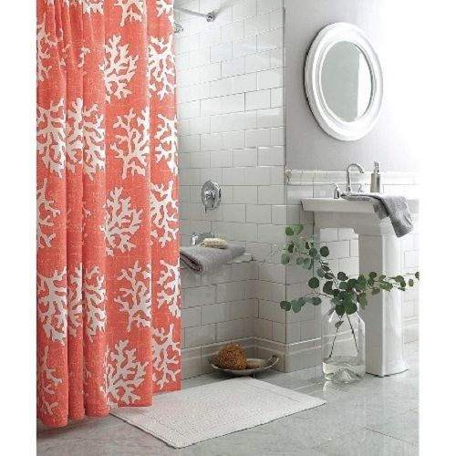 NWOT Coral Shower Curtain With Ocean Coral Print Summer