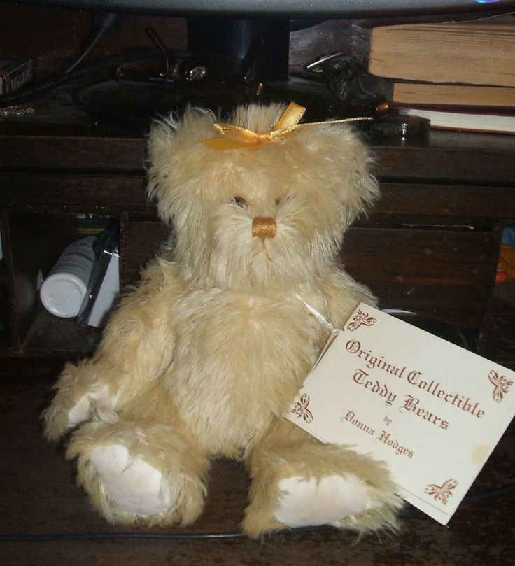 "11"" Ivory Mohair Jointed Teddy Bear by Donna Hodges of La Jolla SIGNED! #BearonsofLaJolla #AllOccasion"