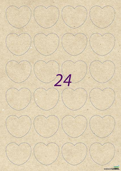 Etiketten - 72 Kraftpapier Herz Aufkleber 44 x 39 mm braun  Mit diesen Herz Etiketten aus braunem Kraftpapier könnt Ihr Herz Aufkleber und Sticker einfach selbst gestalten und drucken. . Die A4-Etiketten sind perfekt geeignet für Laser Drucker, Farblaser Drucker und Kopierer.  Die flexiblen Kraftpapier Etiketten haften sogar auf rauen, leicht feuchten und unebenen Gegenständen. 24 bedruckbare Kraftpapier Aufkleber pro Blatt 1 Set besteht aus 3 Bogen = 72 Etiketten