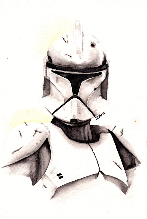 Clonetrooper Watercolor art Print Empire Star Wars Decor paint