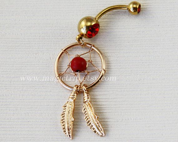 Dream Catcher Belly Button Ring, Navel Jewelry,belly ring,feather belly button ring,summer jewelry on Etsy, $6.99