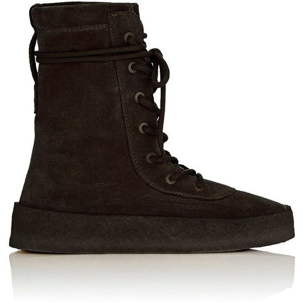 Yeezy Men's Crepe-Sole Boots ($645) ❤ liked on Polyvore featuring men's fashion, men's shoes, men's boots, black, mens round toe cowboy boots, mens lace up shoes, mens military style boots, mens military boots and men's crepe sole shoes