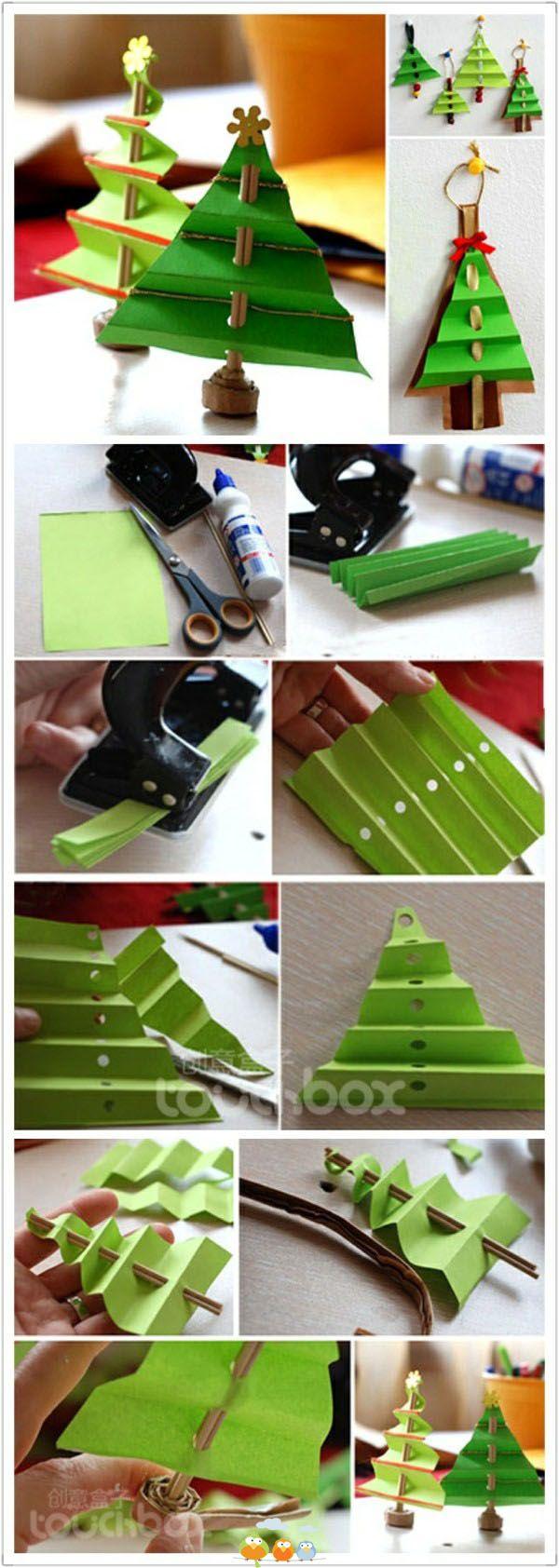 kerstboom papier rietje