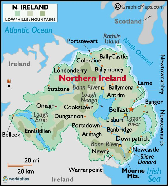 57 Best County Down Images On Pinterest: Northern Ireland Large Color Map