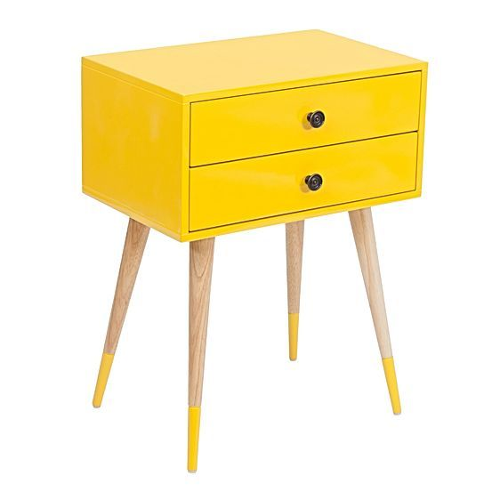 Brighten up your sleep space with the Lois Yellow Bedside Table from Zanui, its handy drawers offering a spot of extra storage.