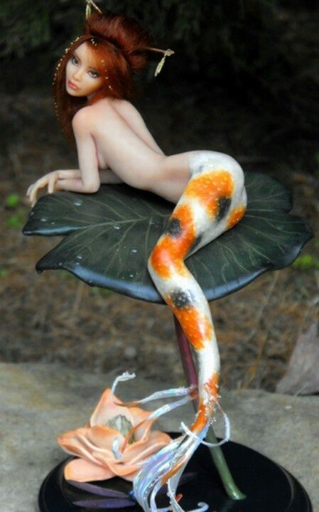 Polymer Clay Figures | Polymer clay figures / P This is beautiful!  I especially like that her tail is colored like a Koi.