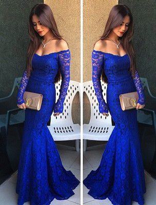 Royal Blue Lace Prom Dress, Simple Off-the-shoulder Prom Dresses with Long Sleeves, Mermaid Prom Dress,Fishtail dress,Sexy dress