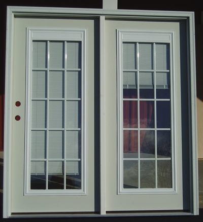 Swinging patio door with blinds internal grills patio for Single swing patio door