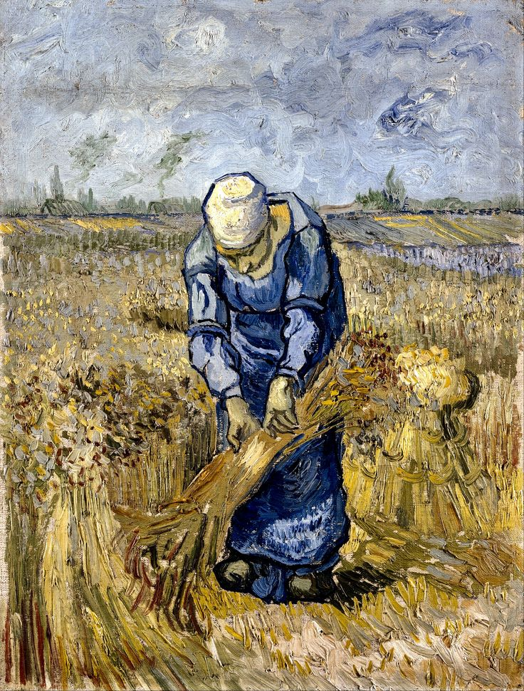 Peasant Woman Binding Sheaves, after Millet - Saint-Rémy: September, 1889. Van Gogh's work shows it is beautiful for its simplicity and appreciation of nature. The woman's expression is hidden to us and appears like one of the waiting bundles of wheat. The true focus of the scene is the woman's bent back