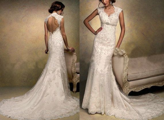 High Quality Cap Sleeve Lace Wedding Dress V-neck Backless Mermaid White/Ivory Lace Bridal Dress A-line Court Train Wedding Gown