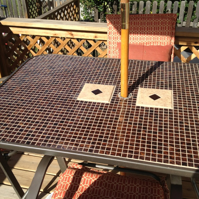 Glass Tile Top Patio Table