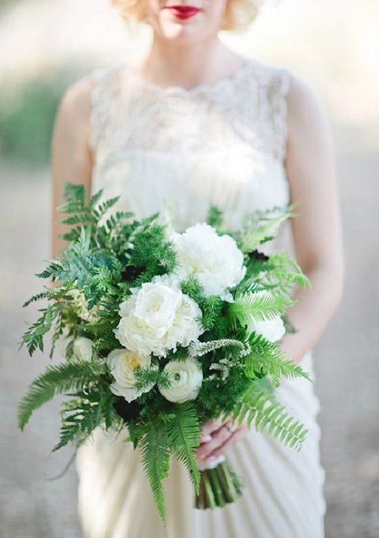 emerald and white-toned wedding bouquet with ferns / http://www.deerpearlflowers.com/greenery-fern-wedding-ideas/