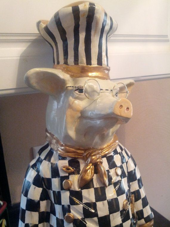 Whimsical Hand Painted Mackenzie Pig Chef Black and White Checks with Chalkboard on Etsy, $279.00